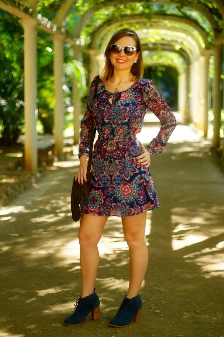 vestido com bolsa de franja Jardim Botânico vestido C&A
