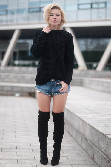 botas over the knee com short