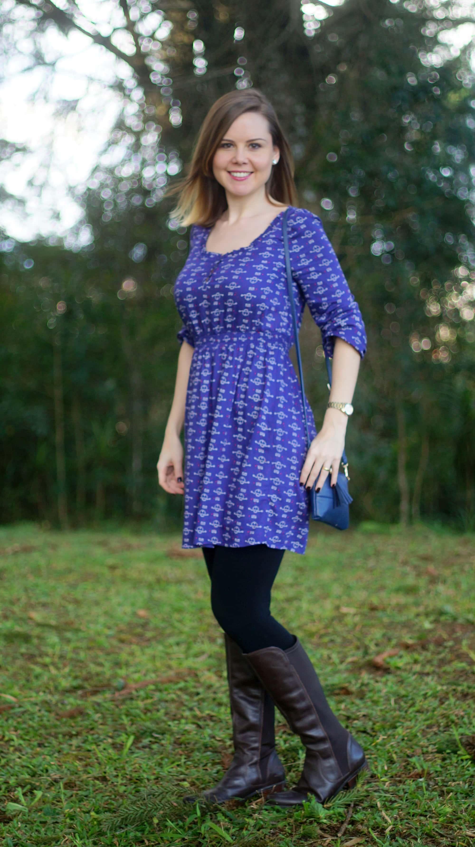 sobreposição vestido e calça legging