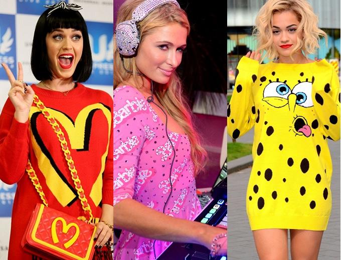 celebridades usando Moschino Katy Perry Paris Hilton e Rita Ora
